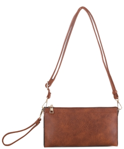 Multi compartment Wristlet Cross Body FC-19107 BROWN