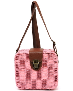 Straw Trendy Fashion Bag PB00225 pink