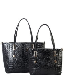 DESIGNER 2 IN 1 CROC HANDBAG SET CY7025 BLACK