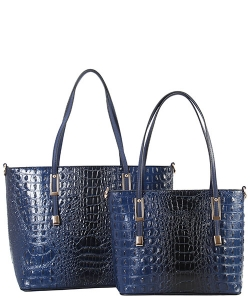 DESIGNER 2 IN 1 CROC HANDBAG SET CY7025 BLUE