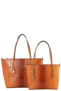 DESIGNER 2 IN 1 CROC HANDBAG SET CY7025 BROWN