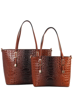 DESIGNER 2 IN 1 CROC HANDBAG SET CY7025 COFFEE