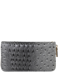 Ostrich Collection Vegan Leather Wallet Single Zip TU700