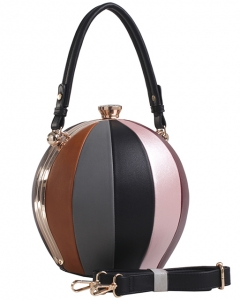 Fashion Faux Leather Color Block Handbag LW2038 BKMT