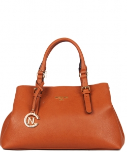 Nicole Lee Designer Modern Satchel with Long Strap P12609 BROWN