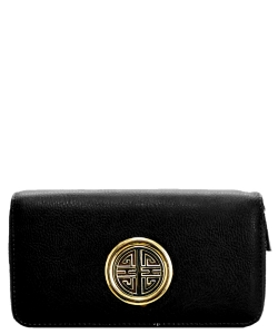 Fashion Faux Leather Emblem Wallet KB0005L Black
