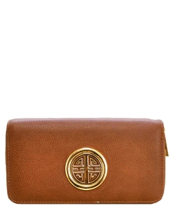 Fashion Faux Leather Emblem Wallet KB0005L Brown