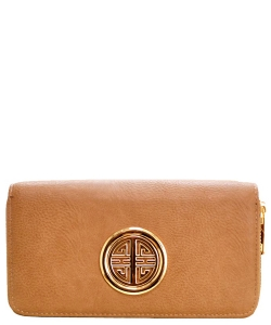 Fashion Faux Leather Emblem Wallet KB0005L Stone