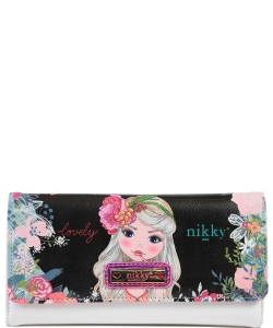 Nikky by Nicole Lee Sophronia Wallet NK20375 FLOWERS  BLACK
