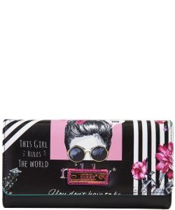 Nikky by Nicole Lee Sophronia Wallet NK20375 GIRLS RULE BLACK