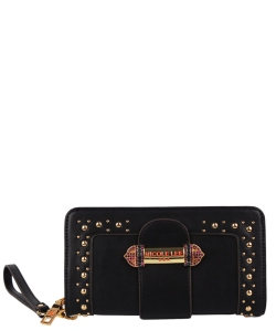 NL Bedazzled Buckle Belt Wallet P6431 BLACK
