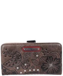NLErico Floral Engraved Wallet P6525 BLACK