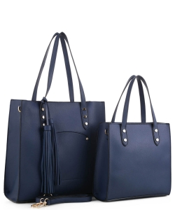 2in1 Fashion Modern Chic Tote Set with Long Strap BW-3024 NAVY