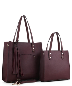 2in1 Fashion Modern Chic Tote Set with Long Strap BW-3024 WINE