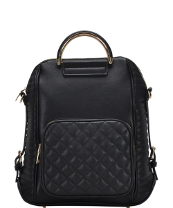 Stylish Quilted Modern Convertible Backpack BGT40710 BLACK
