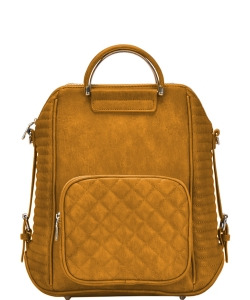 Stylish Quilted Modern Convertible Backpack BGT40710 MUSTARD