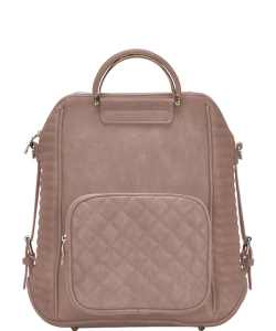 Stylish Quilted Modern Convertible Backpack BGT40710 TAN