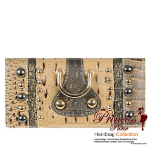 3 Way Fold Crocodile Skin Wallet &  With Stud