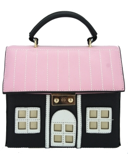 Cute Cartoon House Design Crossbody Bag 6001 BLACK