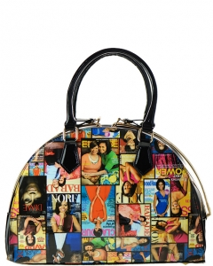 Michelle Obama Magazine Print Patent Jewel-Top Dressy Frame Satchel Handbag