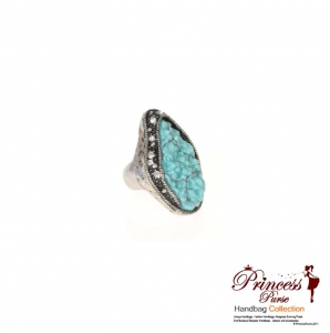 Rock Face Stretch Ring with Rhinestone Accent