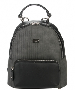 Hardware Accent Fashion Backpack 5829-2 BLACK