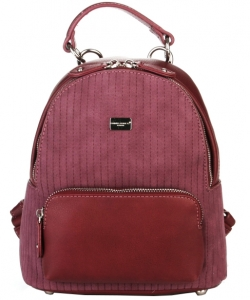 Hardware Accent Fashion Backpack 5829-2 BURGANDY