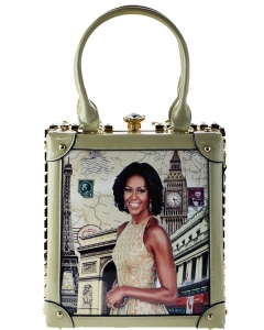 Frame Rhinestone Michelle Obama Fashion Small  Magazine Print Faux Patent Leather Handbag With Gold Embellishments 60032 Apricot
