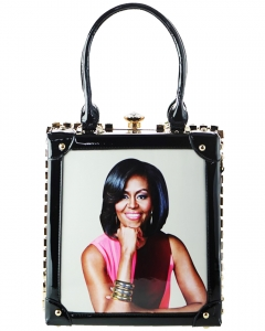 Frame Rhinestone Michelle Obama Fashion Small  Magazine Print Faux Patent Leather Handbag With Gold Embellishments 60032 BLACK