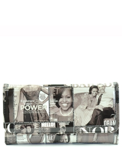 Michelle Obama Magazine Flap wallet  6107 BLACK