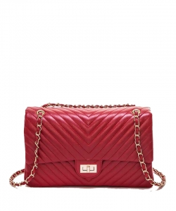 Chevron Quilted Convertible Turn Lock Shoulder Bag 6178 RED