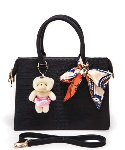 Bear And Scarf Bag Charm Alligator Embossed Jelly Bag 6197 BLACK