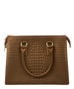 Crocodile Texture Jelly Shoulder Bag 6197 COFFEE