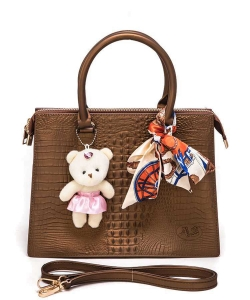 Bear And Scarf Bag Charm Alligator Embossed Jelly Bag 6197 COFFEE