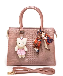 Bear And Scarf Bag Charm Alligator Embossed Jelly Bag 6197 PINK