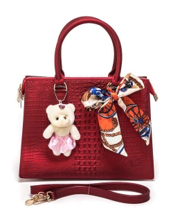 Bear And Scarf Bag Charm Alligator Embossed Jelly Bag 6197 RED