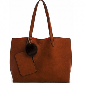 Vegan Leather Reversible Large Tote with Coin Purse 61999-1 Brown