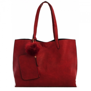 Vegan Leather Reversible Large Tote with Coin Purse 61999-1 Burgandy