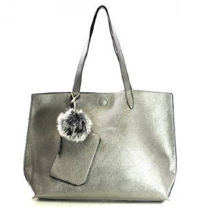 Vegan Leather Reversible Large Tote with Coin Purse 61999-1 Silver