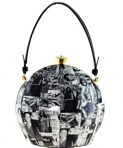 Magazine Printed Unique Ball Shape Fashion Bag 6220 BLACK