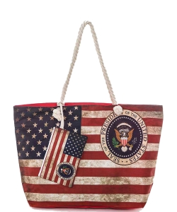 Distressed American Flag Printed Tote Bag 6268 BLACK