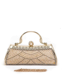 Pearl Pave Iconic Top Handle Box Clutch 6279 GOLD