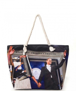 Michelle and Obama Picture Printed Tote Set 6284 BLACK