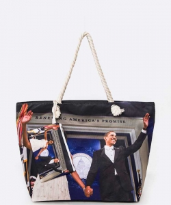 Michelle and Obama Picture Printed Tote Set 6284 RED