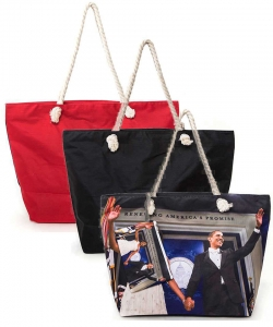 Package of 6 Pieces Michelle and Obama Picture Printed Tote Set 6284