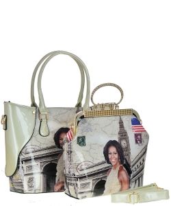 2 in one Fashion Magazine Print Faux Patent Leather Handbag With Gold Embellishments