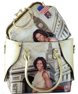 2 In 1 Chic Famous People Magazine Print Tote Handbag Design 6395 APRICOT