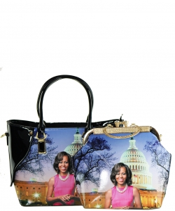 2 in one Fashion Magazine Print Faux Patent Leather Handbag With Gold Embellishments 6395 MULTI