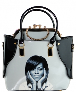2 in one Fashion Magazine Print Faux Patent Leather Handbag With Gold Embellishments 6395 BLACK