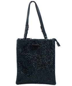 Leather-Trimmed Crystal-Embellished Nylon Mini Bag 6454 BLACK